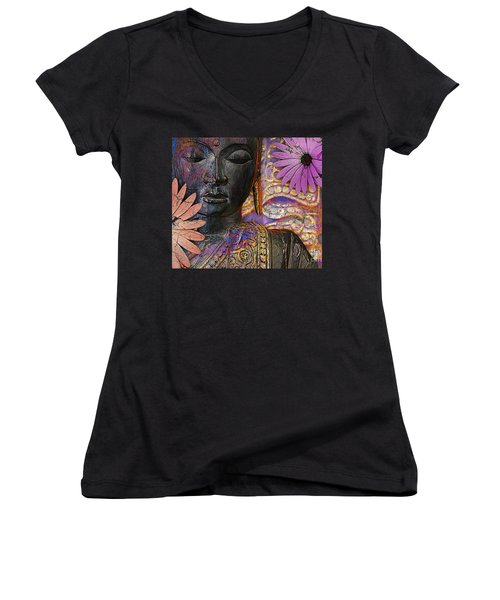 Jewels Of Wisdom - Buddha Floral Artwork Women's V-Neck (Athletic Fit)
