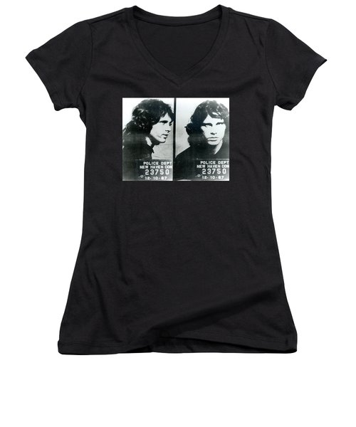 Jim Morrison Mug Shot Horizontal Women's V-Neck