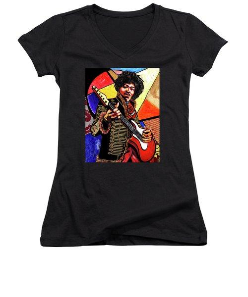 Jimi Hendrix Women's V-Neck T-Shirt