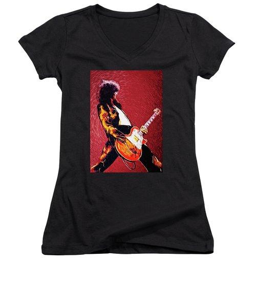 Jimmy Page  Women's V-Neck T-Shirt (Junior Cut) by Taylan Apukovska
