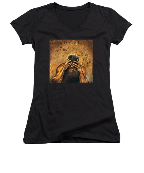 Women's V-Neck T-Shirt (Junior Cut) featuring the painting Job by Christopher Marion Thomas