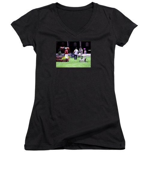 Women's V-Neck T-Shirt (Junior Cut) featuring the digital art Jockeys Painting by  Newwwman
