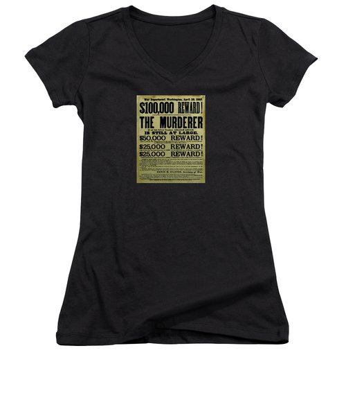 John Wilkes Booth Wanted Poster Women's V-Neck (Athletic Fit)
