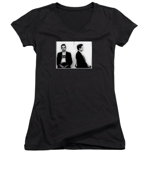 Johnny Cash Mug Shot Horizontal Women's V-Neck T-Shirt (Junior Cut) by Tony Rubino