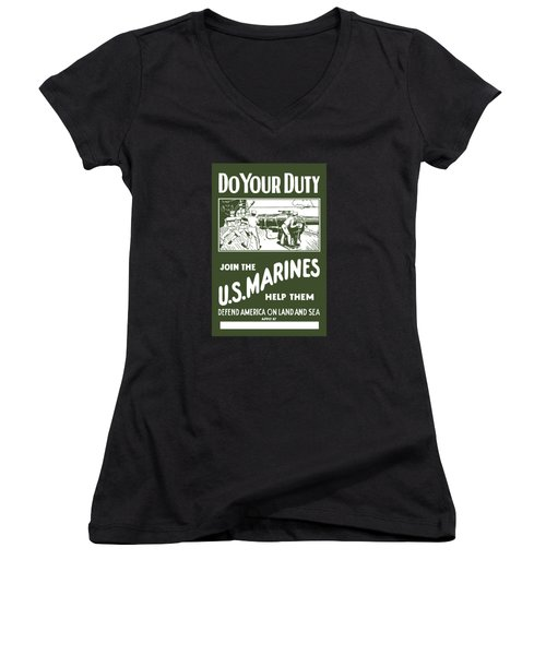 Join The Us Marines Women's V-Neck