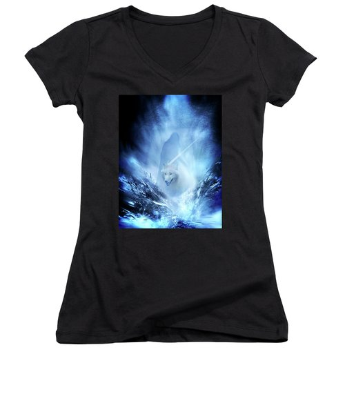Jon Snow And Ghost - Game Of Thrones Women's V-Neck T-Shirt (Junior Cut) by Lilia D
