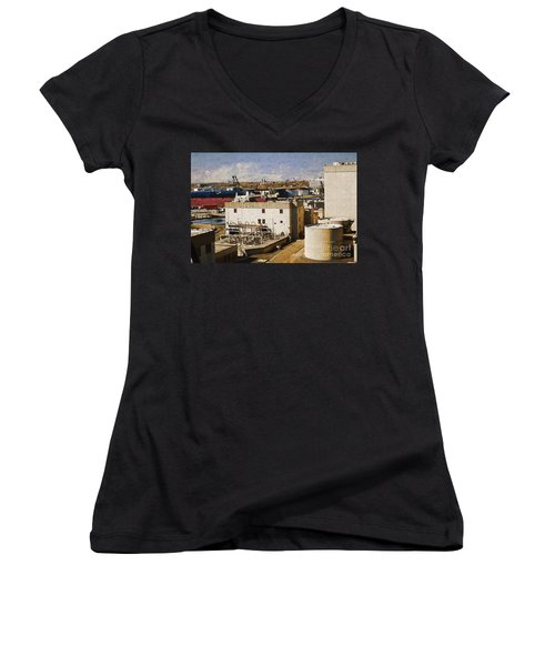Jones Island Women's V-Neck T-Shirt (Junior Cut) by David Blank