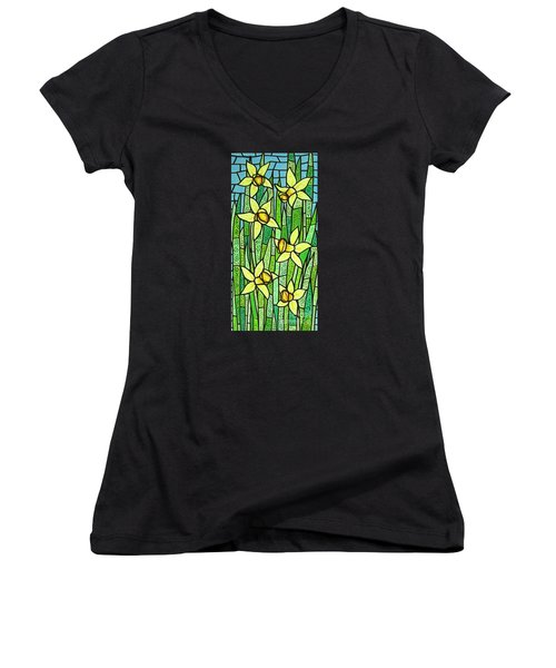 Women's V-Neck T-Shirt (Junior Cut) featuring the painting Jonquil Glory by Jim Harris