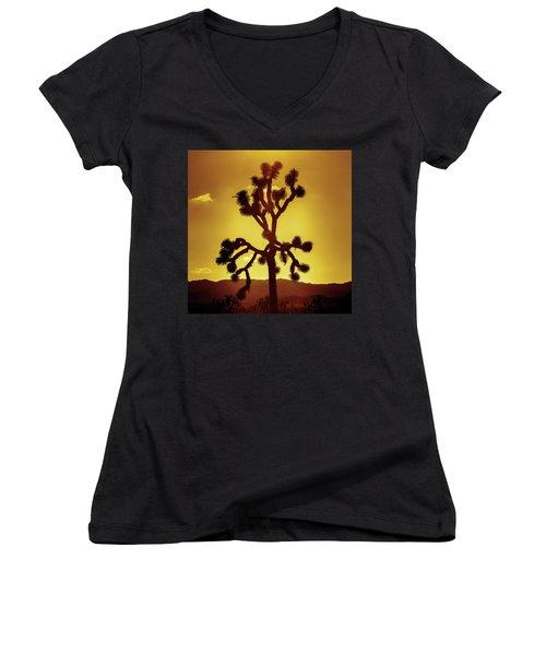 Women's V-Neck T-Shirt (Junior Cut) featuring the photograph Joshua Tree by Stephen Stookey