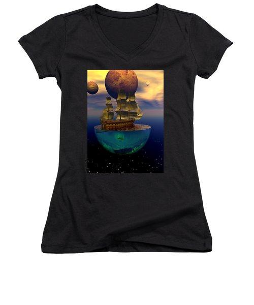 Women's V-Neck T-Shirt (Junior Cut) featuring the digital art Journey Into Imagination by Claude McCoy
