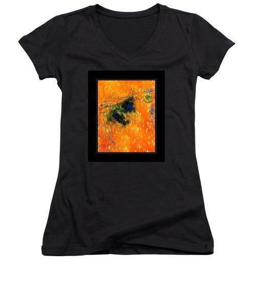Jug In Black And Orange Women's V-Neck