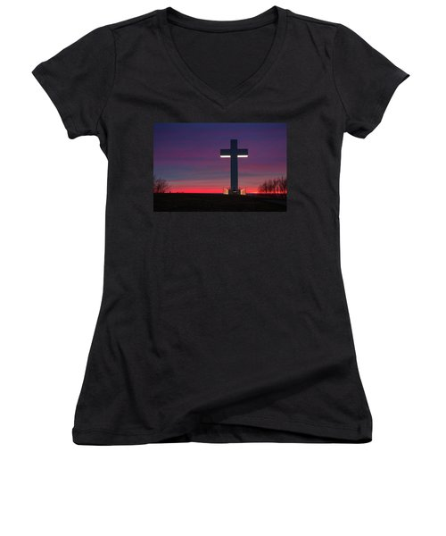 Jumonville Cross  Women's V-Neck (Athletic Fit)