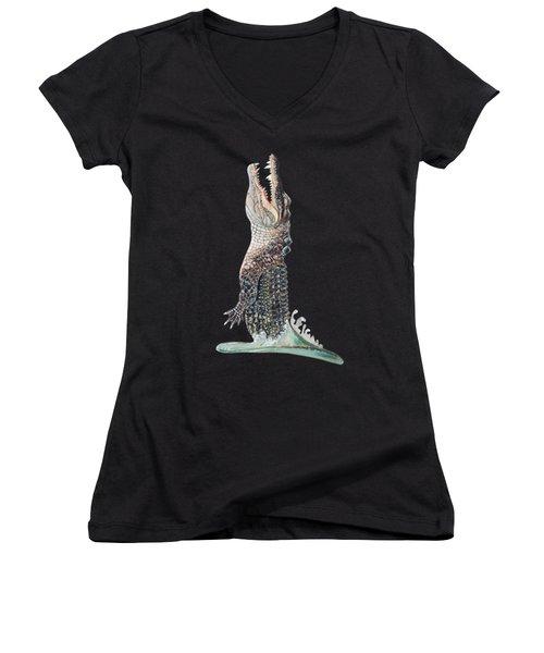 Jumping Gator Women's V-Neck T-Shirt