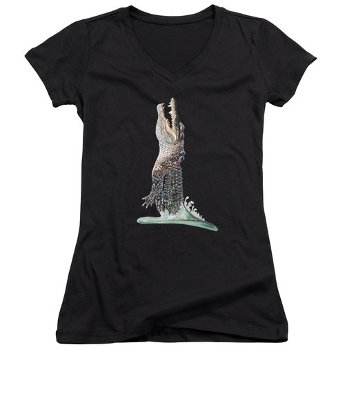 Jumping Gator Women's V-Neck T-Shirt (Junior Cut)