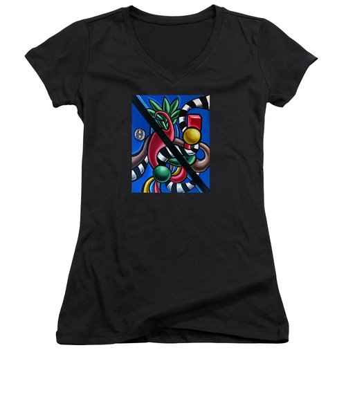 Jungle Stripes 1 - Abstract Painting Women's V-Neck (Athletic Fit)