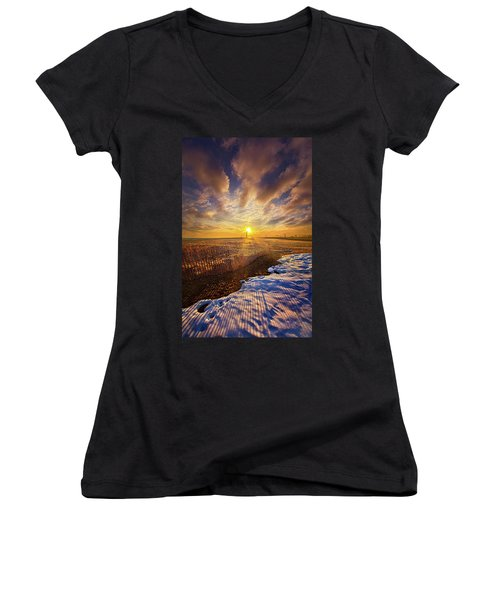 Women's V-Neck T-Shirt (Junior Cut) featuring the photograph Just A Bit More To Go by Phil Koch