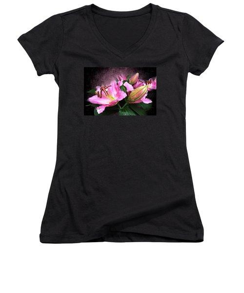 Women's V-Neck T-Shirt (Junior Cut) featuring the mixed media Just Beautiful  by Gabriella Weninger - David