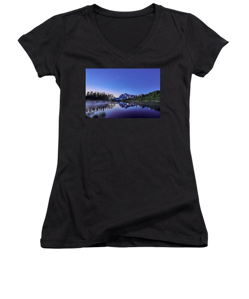 Women's V-Neck T-Shirt (Junior Cut) featuring the photograph Just Before The Day by Jon Glaser