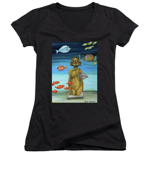 Women's V-Neck T-Shirt (Junior Cut) featuring the painting Just Breathe by Leah Saulnier The Painting Maniac