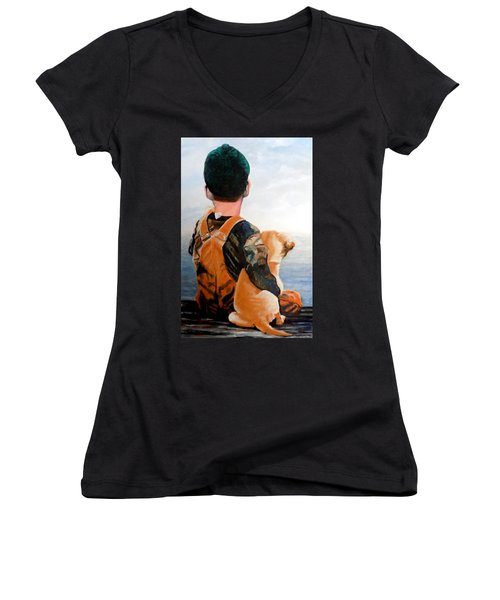 Just Hanging Out Women's V-Neck T-Shirt (Junior Cut) by Maris Sherwood