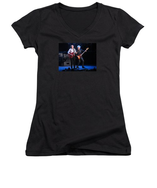 Women's V-Neck T-Shirt (Junior Cut) featuring the photograph Justin And John In Concert 2 by Melinda Saminski
