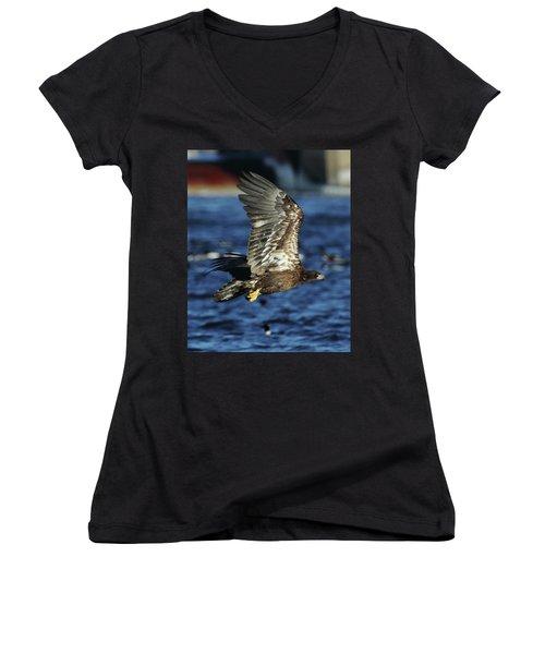Juvenile Bald Eagle Over Water Women's V-Neck T-Shirt