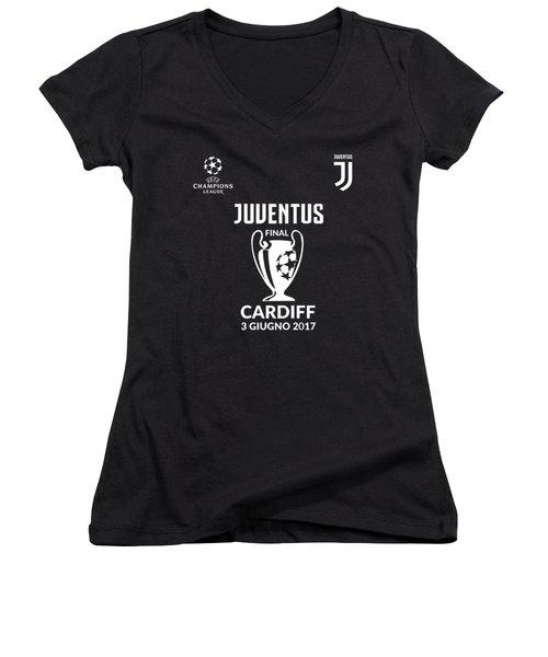 Juventus Final Champions League Cardiff 2017 Women's V-Neck T-Shirt (Junior Cut) by Ipoy Juki
