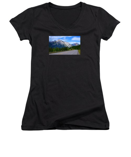 Kananaskis Country Women's V-Neck T-Shirt (Junior Cut) by Heather Vopni