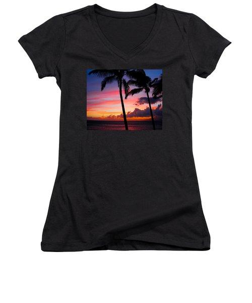Kaanapali Sunset  Kaanapali  Maui Hawaii Women's V-Neck T-Shirt (Junior Cut) by Michael Bessler