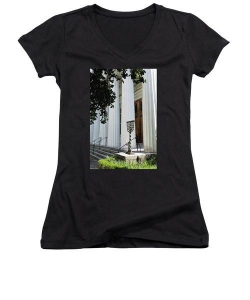 Kahal Kadosh Beth Elohim Women's V-Neck T-Shirt (Junior Cut) by Ed Waldrop