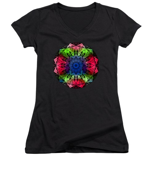 Kaleidoscope - Warm And Cool Colors Women's V-Neck (Athletic Fit)