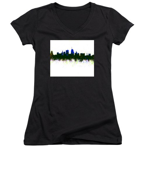 Kansas City Skyline Blue  Women's V-Neck T-Shirt (Junior Cut) by Enki Art