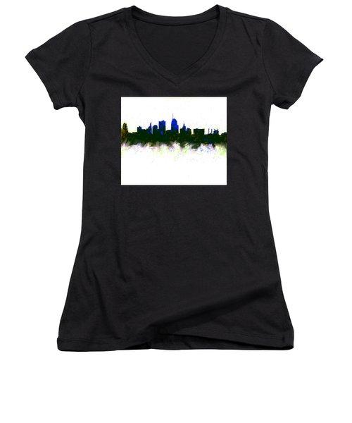 Kansas City Skyline Blue  Women's V-Neck T-Shirt