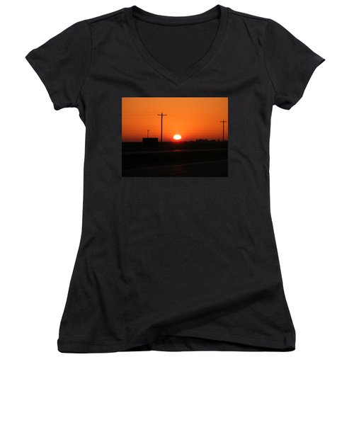Kansas Sunrise Women's V-Neck T-Shirt (Junior Cut) by Adam Cornelison