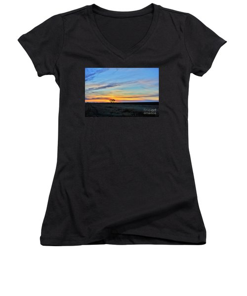 Kansas Sunrise1 Women's V-Neck (Athletic Fit)