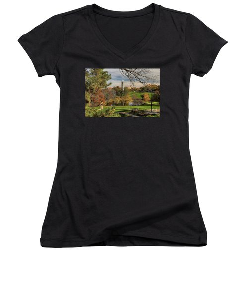 Kansas University Women's V-Neck T-Shirt (Junior Cut) by Joan Bertucci