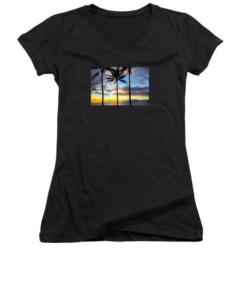 Kapalua Dream Women's V-Neck T-Shirt (Junior Cut) by Kelly Wade