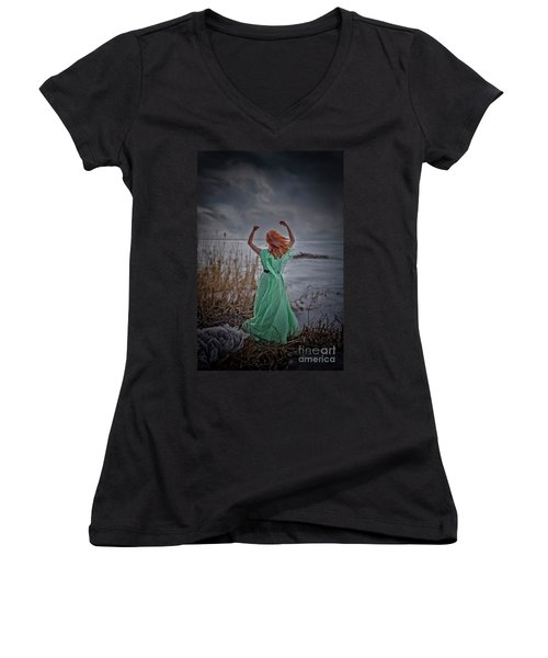 Katharsis Series 3/3 Release Women's V-Neck T-Shirt (Junior Cut) by Agnieszka Mlicka