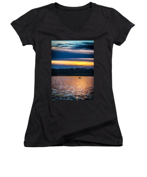 Kayak Sunset Women's V-Neck