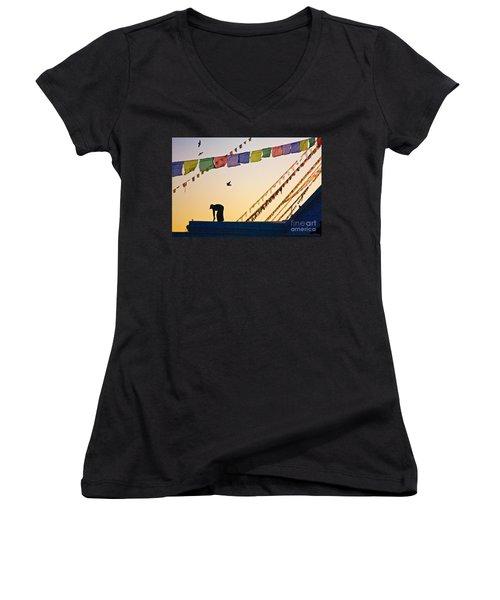 Kdu_nepal_d113 Women's V-Neck T-Shirt (Junior Cut) by Craig Lovell