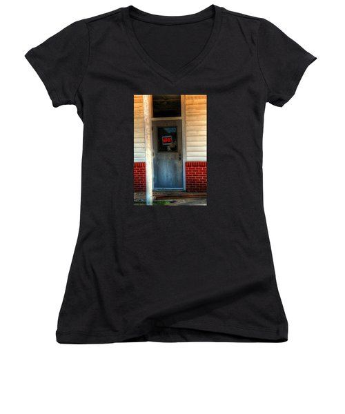 Keep Out Women's V-Neck T-Shirt (Junior Cut) by Ester  Rogers