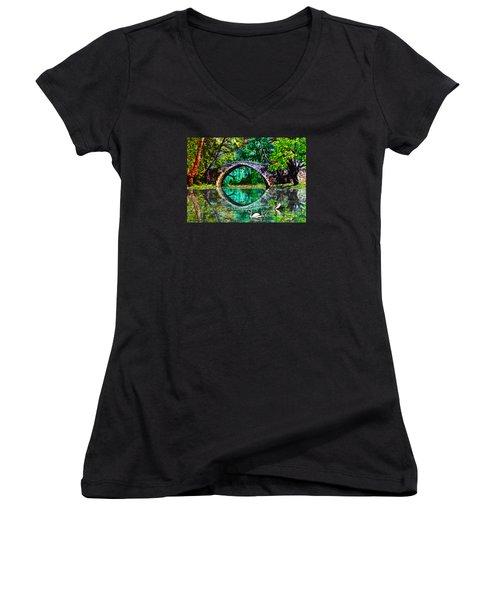 Kefalos Bridge Cyprus Women's V-Neck T-Shirt (Junior Cut) by Michele Avanti