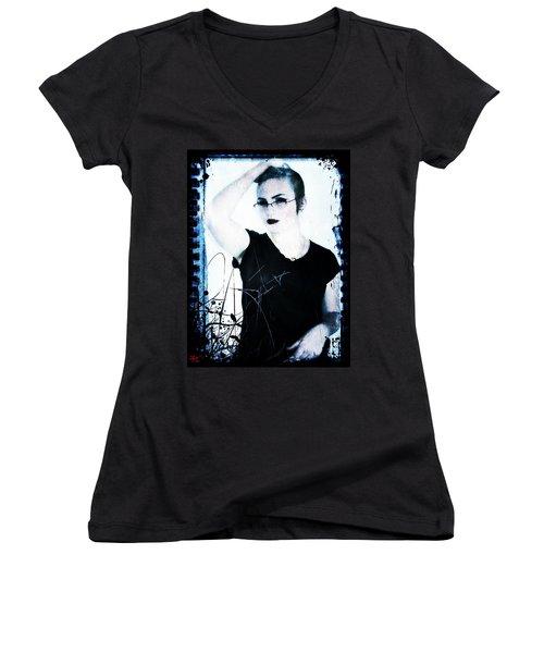 Women's V-Neck T-Shirt (Junior Cut) featuring the digital art Kelsey 2 by Mark Baranowski
