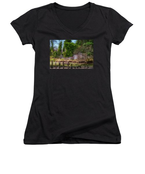 Women's V-Neck T-Shirt featuring the photograph Kennetpans Distillery Ruins by Jeremy Lavender Photography
