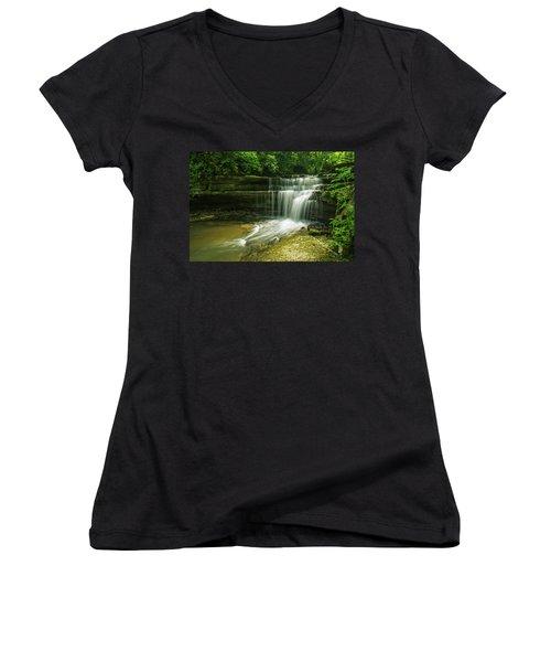Kentucky Waterfalls Women's V-Neck T-Shirt (Junior Cut) by Ulrich Burkhalter