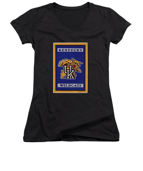 Ky Wildcats Logo T-shirt Women's V-Neck T-Shirt (Junior Cut) by Herb Strobino