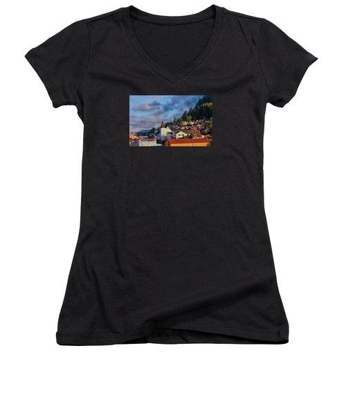 Ketchikan Morning Women's V-Neck T-Shirt (Junior Cut) by Lewis Mann