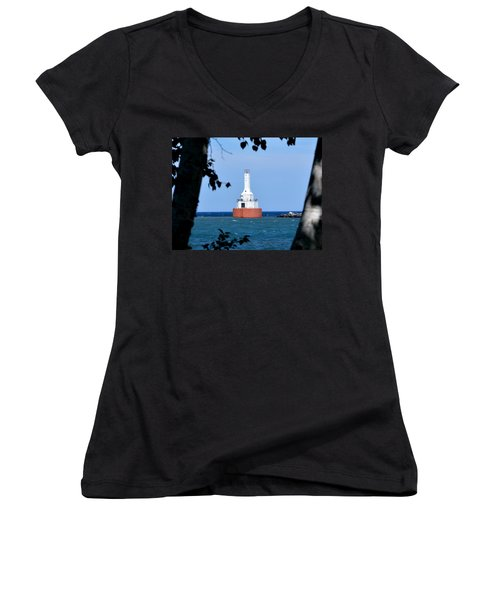 Keweenaw Waterway Lighthouse. Women's V-Neck T-Shirt (Junior Cut) by Keith Stokes