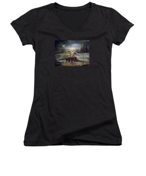 Kids Guiding The Angel Women's V-Neck T-Shirt (Junior Cut) by Mikhail Savchenko
