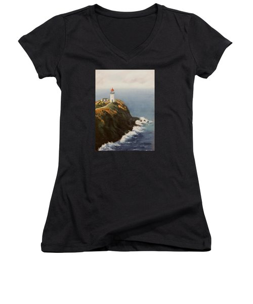 Kilauea Lighthouse Women's V-Neck T-Shirt (Junior Cut) by Alan Mager